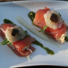 Cannelloni van tonijn met kingkrab, bloemkoolcrème en pesto - Hap en Tap