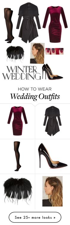 """""""Winter wedding guest"""" by sophiie100 on Polyvore featuring WithChic, Christian Louboutin, Wolford, BCBGeneration and Alexander McQueen"""