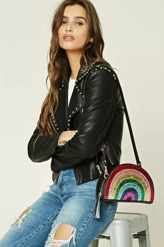 Crossbody Bag with Beautiful Sparkly Rainbow Forever 21