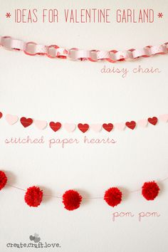 Three unique Ideas for Valentine's Day Garland Valentines Day Decorations, Valentines Day Party, Valentine Day Crafts, Love Valentines, Holiday Crafts, Holiday Fun, Valentine Desserts, Holiday Decorations, Valentinstag Party