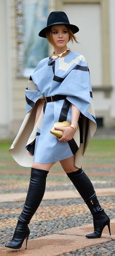 Blue Multi Geo Print Cape Cardi  with black leather knee high stiletto boots. Such a classy and elegant look, cute work outfit for the fall.