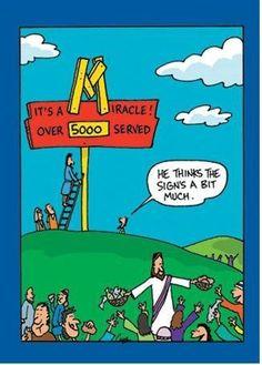 Radical Reformation Fan: Hilarious Christian Cartoons - so many funny cartoons! Bible Cartoon, Jesus Cartoon, Cartoon Jokes, Funny Cartoons, Funny Jokes, Hilarious, Daily Cartoons, Funny Laugh, Christian Comics
