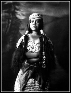 Titled: Daughter of the Klamath. I believe the young lady's name is Bertha Thompson. This is another photograph from Emma Freeman's Northern California Series.