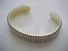 "Lovely cuff with rows of cz's;  gold plate--7.5"" #Unbranded #Cuff"