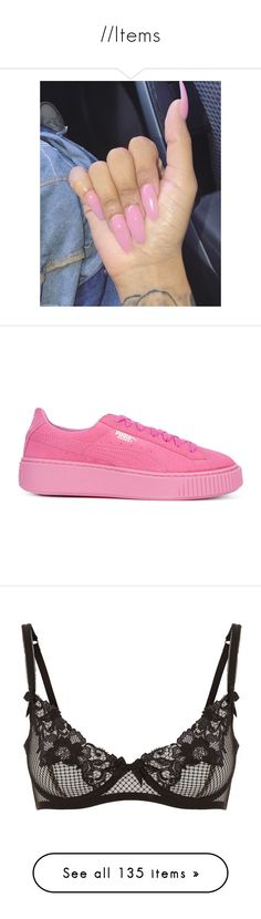 """""""//Items"""" by xglodollx ❤ liked on Polyvore featuring shoes, sneakers, white, puma footwear, puma sneakers, patent shoes, white patent leather shoes, puma trainers, pink and puma shoes"""