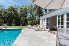 Edgartown Home Rental - SULLS   Martha's Vineyard Vacation Rentals. Sliding glass doors from living room to beautiful pool and patio.