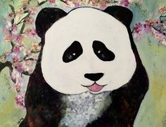 Mixed media on cartboard canvas, Panda, Disney Characters, Fictional Characters, Mixed Media, Oil, Disney Princess, Abstract, Artist, Image