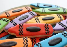 SIMPLE CRAYON COOKIES - -  Crayon cookies are a fun and colorful design. Whether you're making them as teacher's gifts or for an art party they're sure to brighten any...