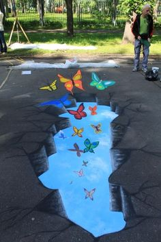 I really want to be able to do this one day >.< Butterflies chalk pavement art #streetart