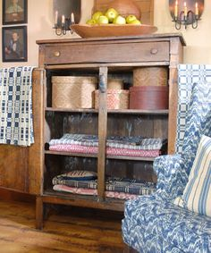My old chiffarobe in sewing room would look great with old blankets & stackables
