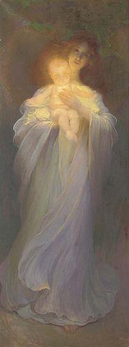 """Franz Dvorak (Austrian, 1862-1927), """"Mother and child"""""""