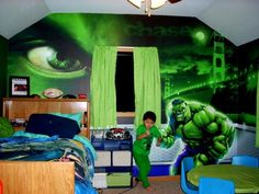 An Incredible Hulk Room  I wouldnt do this, but J would LOVE this room!