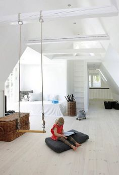 6. Swing in a minimalist style. Awesome interior designing: 16 ideas with a hanging swing, which will delight both children and adults | DIY is FUN