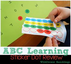 //have a circle drawn on for them to put it so they can make sure it matches. maybe write first in small circle-AH// I love this! Such an easy way to give kids alphabet practice. Stickers are always a hit. Preschool Literacy, Preschool Letters, Early Literacy, Kindergarten, Alphabet For Kids, Learning The Alphabet, Kids Learning, Learning Activities, Abc Centers