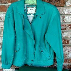 Gorgeous Arbitro turquoise leather jacket Gently worn leather bomber style jacket Med Arbitro Jackets & Coats Blazers