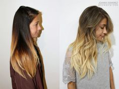 beachy blonde, ombre, before & after, color correction