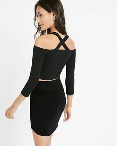 cross back off the shoulder cropped top