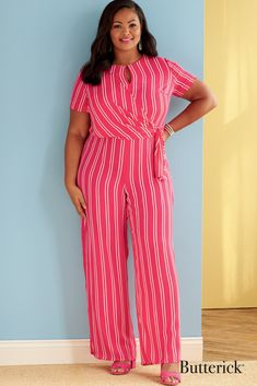 Women's faux wrap dress & jumpsuit with sleeve variations. | Butterick Patterns  #sewingpatterns #sewing #sewingproject #womenssewingpatterns #DIYclothes #dressewingpatterns #jumpsuitpatterns #dresspatterns #jumpsuitsewingpatterns #butterickpatterns #butterick Butterick Sewing Patterns, Easy Sewing Patterns, Vogue Patterns, Dress Patterns, Jumpsuit With Sleeves, Jumpsuit Dress, Jumpsuit Pattern, Faux Wrap Dress, Jumpsuits For Women