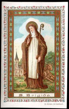 OLD HOLY CARD GOLDPRINT OF ST BRIGIDA