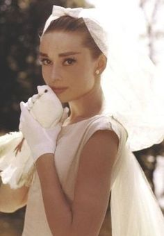 Audrey Hepburn in a Givenchy wedding dress, 1956.