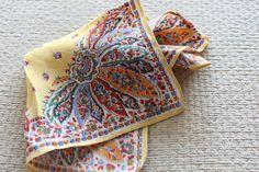 vintage men pocket square yellow floral hanki handkerchief  top pocket print