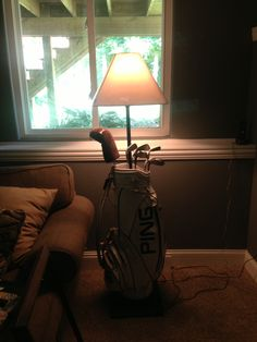 We created this floor lamp out of my hubby's old golf bag for his man cave!