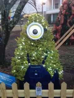 A Minion disguised as a Christmas tree.
