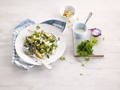 Gorgeous green & white asparagus salad made with Alpro Soya Cuisine