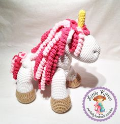 Large Unicorn Crochet Plush Toy - White and Pink - Made To Order