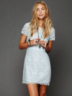 Free People Straight Laced Shift Dress in winter sky, 118$
