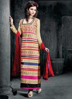 Delightful Multicolored Fancy Heavy Resham Work Churidar Suit