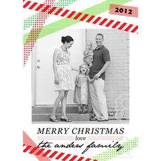 Washi Tape Inspired Printable Holiday or Christmas Photo Card - Green and Red