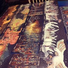 The incredibly gorgeous Prisma Visions tarot deck.  The minor arcana spread out makes one large amazing scene.  #prismavisionstarot #tarot