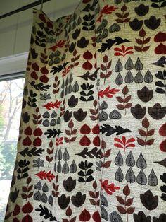 Mid Century Woodland Leaf Pattern Barkcloth Curtains