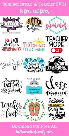 """We're sharing 15 Free End of the School Year/ Summer Break/ Teacher SVG Cut Files including our very own """"Teacher Shark"""" cut file. So pull out those Cricuts and Silhouettes and craft up an easy project! We have you covered for amazing handmade teacher gifts and graduation gifts! #Cricut #Silhouette #TeacherGift #Teacher #CutFile #FreeSVG #SVG School Shirts, Teacher Shirts, School Teacher, Teacher Fonts Free, Shirts For Teachers, Teacher Sayings, Teacher Summer, Teacher Clothes, Teacher Resources"""