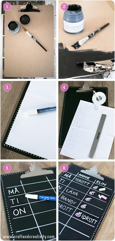 DIY: chalkboard clipboard--could use this for larger drawing boards Do It Yourself Projects, Diy Projects To Try, Craft Projects, Cute Crafts, Diy And Crafts, In Kindergarten, Cool Diy, Making Ideas, Diy Gifts