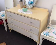 Vintage 3 drawer dresser. Painted in Fusion Mineral Paint (Buttermilk and Limestone).