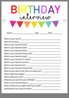 Jan 2020 - Start the ultimate birthday tradition by giving your child a birthday interview. Make memories to last a lifetime with this birthday interview printable. Traditions D'anniversaire, Birthday Traditions, Birthday Week, Girl Birthday, Birthday Ideas, Free Birthday, Surprise Birthday, Husband Birthday, Birthday Images