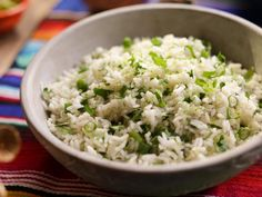 """Lime Cilantro Rice (Taco Tuesday, SoCal-Style) - Valerie Bertinelli, """"Valerie's Home Cooking"""" on the Food Network. Rice Recipes, Side Dish Recipes, Mexican Food Recipes, Mexican Entrees, Arabic Recipes, Veggie Recipes, Yummy Recipes, Vegetarian Recipes, Daisies"""