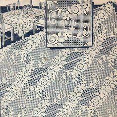 PDF Filet Crochet Motif Square Flower Floral Pattern: