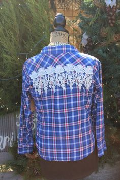 Small Flannel Shirt with Rose Lace Fringe  blue and pink plaid
