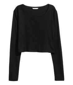 4667e3c846d Black. Short top in a viscose-blend rib knit with a slightly wider neckline
