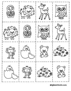 This is a free printable memory game for kids. There is a