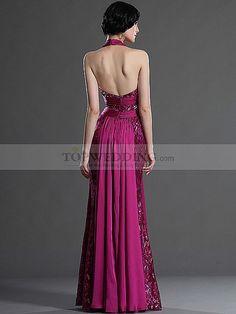 Halter Deep V Neck Full Length Lace and Chiffon Evening Dress