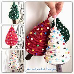 Arbolitos de Navidad de ganchillo (me encanta el blanco)