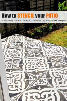 How To Stencil Your Patio Flags - Say goodbye to those boring grey concrete flags and say hello to a super cool new look! With a sten - Concrete Flags, Stencil Concrete, Painting Concrete Patios, Painted Patio Concrete, Diy Concrete, Backyard Patio, Backyard Landscaping, Patio Stone, Flagstone Patio
