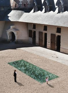 Designer Mathieu Lehanneur achieved the effect with a marriage of 3D computer software, hand-polished green marble and natural light, so it looks like wind is rippling on the surface of a river.   rather placed in the courtyard of the magnificent Domaine de Chaumont-sur-Loire Centre D'Arts et de nature, a garden center in France. The piece will be on display through November 2nd.
