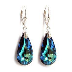 Amazon.com: Bermuda Blue Genuine Swarovski Crystals Sterling Silver Leverback Dangle Earrings: Jewelry