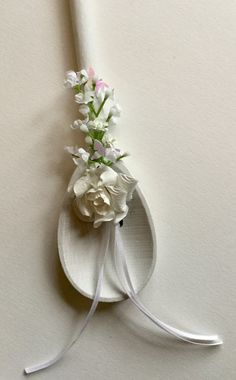 Wedding Good Luck shabby chic wooden spoon bride & groom gift