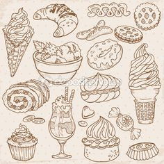 Set of Cakes, Sweets and Desserts - hand drawn in vector — Stock Illustration #8889090